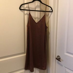 Burgundy Satin Slip Dress